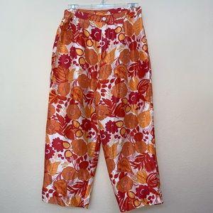✅ Bob Mackie Orange Floral Print 100% Silk Pants